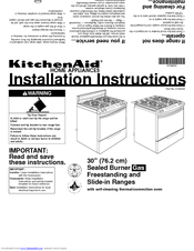 "KitchenAid 30"" Electric Freestanding Range Installation Instructions Manual"