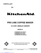 KitchenAid KPCM050PM - Pro Line Single-Carafe Coffee Maker Parts List
