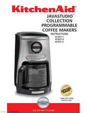 Java Studio Coffee Maker : Kitchenaid KCM515 - JavaStudio Collection Programmable Coffee Maker Manuals