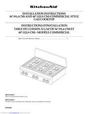 KitchenAid Pro Line KGCP463K Installation Instructions Manual