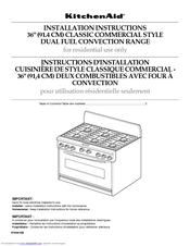 KitchenAid Dual Fuel Convection Range Installation Instructions Manual