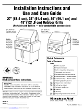KitchenAid KFGR382 Installation Instructions And Use And Care Manual