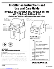 KitchenAid KFGR382PSS Installation Instructions And Use And Care Manual