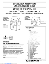 KitchenAid ARCHITECT KBGN274SSS Installation Instructions And Use And Care Manual