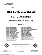 KitchenAid KP26M1XMR5 Parts List