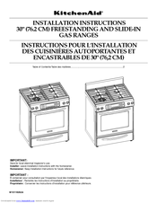 KitchenAid Architect Series II KGRS807SSS Installation Instructions Manual