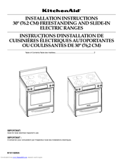 KitchenAid KESK901SBL - 30 Inch Slide-In Electric Range Installation Instructions Manual