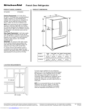 KitchenAid KFIS25XV Specification Sheet