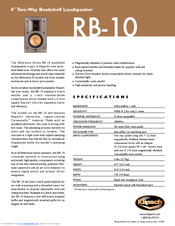 Klipsch RB 10 Specifications