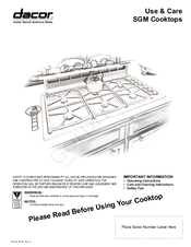 dacor preference sgm manuals dacor preference sgm365 use and care manual 12 pages sgm cooktops