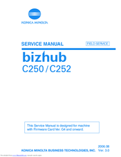 KONICA MINOLTA BIZHUB C250 SERVICE MANUAL Pdf Download