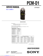 Sony PCMD1 - Professional XLR Microphone Preamp Service Manual