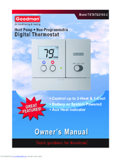 goodman tstatg2100 2 manuals rh manualslib com goodman comfortnet thermostat manual Goodman Furnace Thermostats