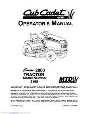 Cub Cadet 2165 Manuals. Cub Cadet 2165 Operator's Manual. Wiring. 2165 Cub Cadet Mower Wiring Diagram At Scoala.co