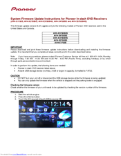 Pioneer AVH-X5700BHS System Firmware Update Instructions