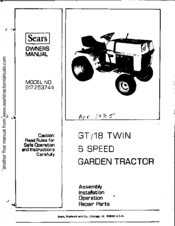 Sears GT/18 Twin Manuals | ManualsLibManualsLib