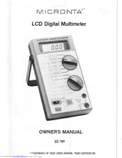 micronta 22 191 manuals rh manualslib com Micronta Multimeter 22 167 Micronta Multimeter 22 204C