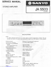 Sanyo JA 5503 Service Manual