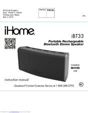 ihome ibt34 go arc manuals rh manualslib com ihome instruction manual clock radio ihome user manual for ih-bl-k655