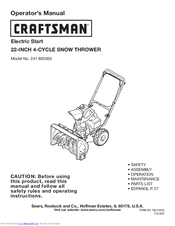 Craftsman 22-INCH 4-CYCLE SNOW THROWER 247.885550 Operator's Manual