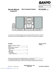 Sanyo DC-DA380 Service Manual Supplement