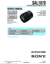 Sony SAL1870 - Zoom Lens - 18 mm Service Manual