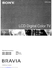 SONY BRAVIA KDL-40S4100 OPERATING INSTRUCTIONS MANUAL Pdf Download