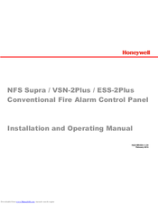 Honeywell NFS Supra Installation And Operating Manual