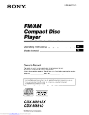 Sony CDX-M8810 - Fm/am Compact Disc Player Operating Instructions Manual