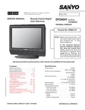 sanyo vizon dp26647 service manual pdf download rh manualslib com sanyo k50 vizon manual sanyo vizon clt1554 manual