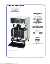 Bloomfield Coffee Maker Parts Manual : Bloomfield 9520FB Manuals