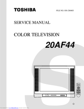 toshiba 20af44 manuals rh manualslib com For Toshiba TV Manuals Toshiba TV Service Manual