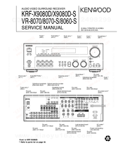 Kenwood VR-8070-S Service Manual
