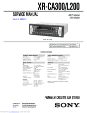 sony xr ca300 fm am cassette car stereo manuals