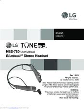 lg hbs 760 tonepro user manual pdf download rh manualslib com lg bluetooth user manual hbs82 lg bluetooth headset user manual