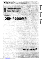 Pioneer DEH-P2900MP Operation Manual