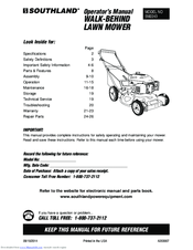 Southland Sm2243 Operator S Manual 44 Pages Walk Behind Lawn Mower