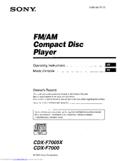 sony cdx f7005x fm am compact disc player manuals sony cdx f7005x fm am compact disc player operating instructions manual