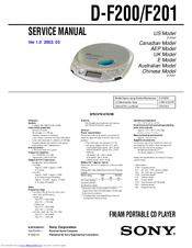 Sony Cd Walkman D-F200 Manuals