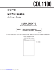 Sony CDL1100 Service Manual