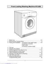 kleenmaid kfl806 use & care manual (22 pages)  front loading washing machine