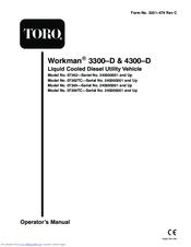 TORO WORKMAN 3300–D OPERATOR'S MANUAL Pdf Download. on