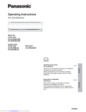 Panasonic CS-E24RKUAW Operating Instructions Manual
