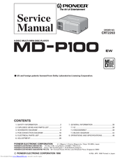Pioneer MD-P100 Service Manual