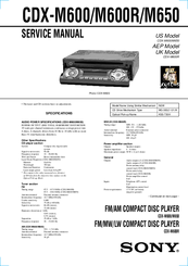 sony cdx m600 fm am compact disc player manuals