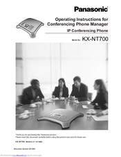 Panasonic KX-NT700 - Conference VoIP Phone Operating Instructions Manual