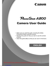 Canon PowerShot A800 User Manual