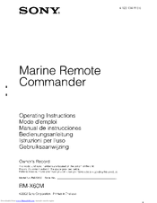 Sony RM-X60M - Marine Remote Commander Operating Instructions Manual