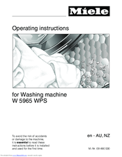 Miele W 5965 WPS Operating Instructions Manual