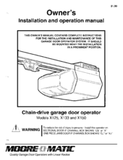 manuals and user guides for moore-o-matic x133  we have 1 moore-o-matic  x133 manual available for free pdf download: installation and operation  manual
